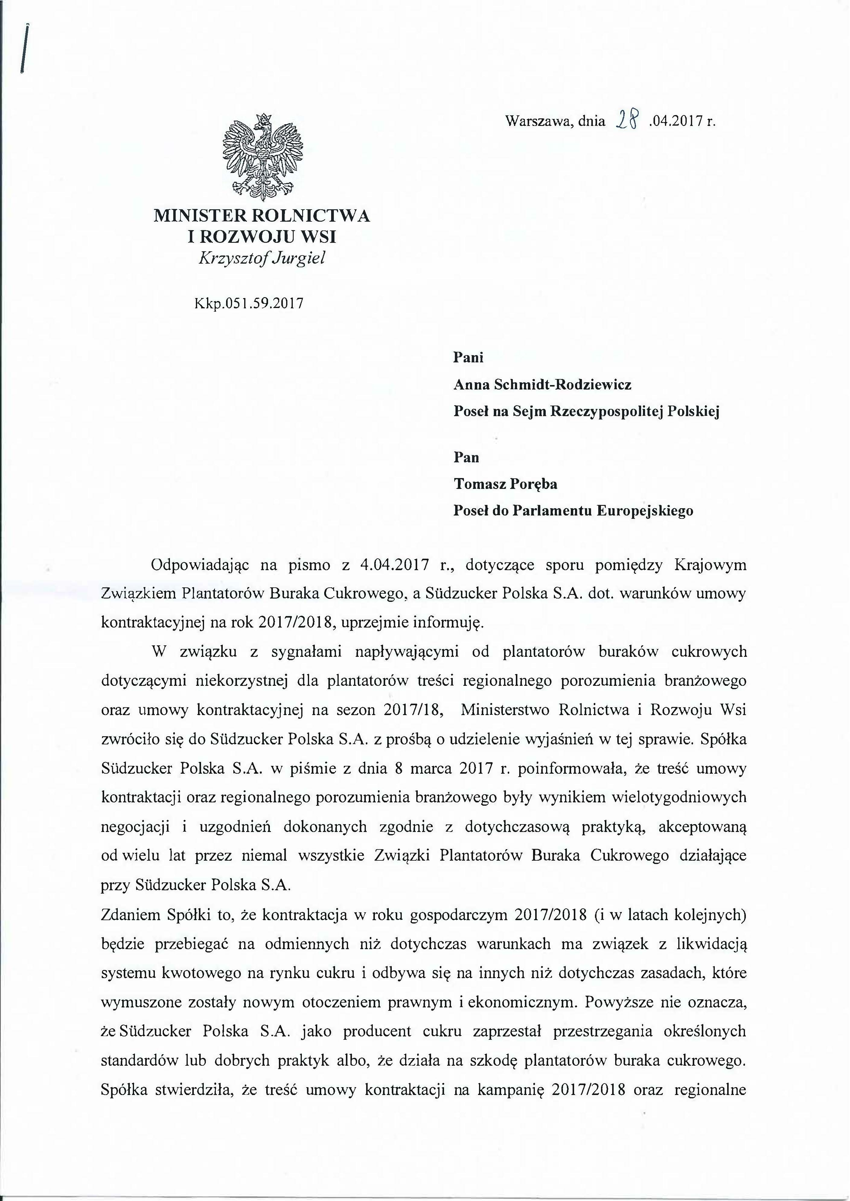 Po interwencji posłów PiS minister rolnictwa zlecił kontrolę działań podejmowanych przez Südzucker Polska S.A.
